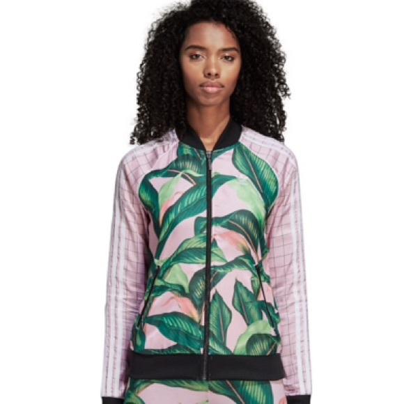 6e2ef2dc02dd3 adidas Jackets & Coats | Originals Farm Big Leaf Satin Track Top ...